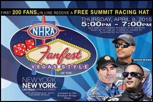 NHRA FAN FEST, VEGAS STYLE, SET FOR APRIL 9: